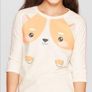 Girl's 3/4 Sleeve Corgi baseball T-Shirt